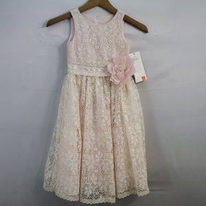 US ANGELS FLOWER GIRL DRESS IVORY LACE OVER PINK 4